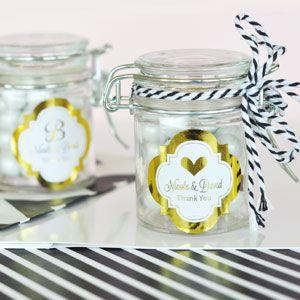 Personalized Metallic Foil Glass Jar with Swing Top Lid - We image