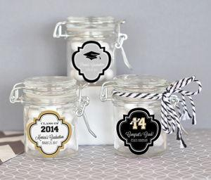 Personalized Graduation Glass Jar with Swing Top Lid - MINI image