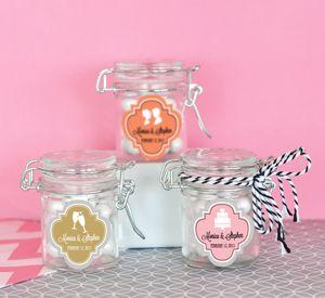 Personalized MOD Pattern Theme Glass Jar with Swing Top Lid image