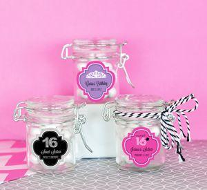 Personalized Sweet 16 or 15 Glass Jar with Swing Top Lid - M image
