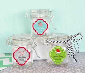 Personalized Winter Glass Jar with Swing Top Lid - MINI image