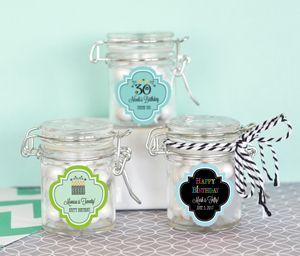Personalized Birthday Glass Jar with Swing Top Lid - MINI image