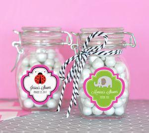 Personalized Baby Animal Glass Jar with Swing Top Lid - SMAL image