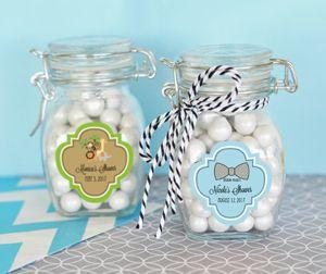 Personalized Baby Shower Glass Jar with Swing Top Lid - SMAL image