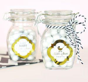 Personalized Metallic Foil Glass Jar with Swing Top Lid - Ba image