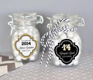 Personalized Graduation Glass Jar with Swing Top Lid - SMALL image