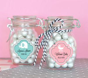 Personalized MOD Pattern Baby Shower Glass Jar with_Swing image