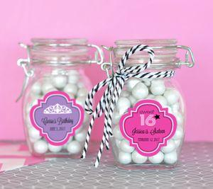 Personalized Sweet 16 or 15 Glass Jar with Swing Top Lid - S image
