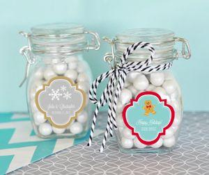 Personalized Winter Glass Jar with Swing Top Lid - SMALL image