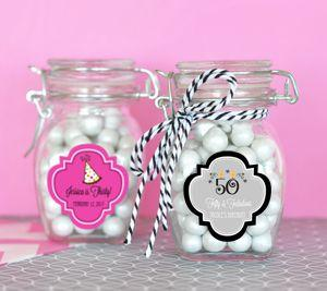 Personalized Birthday Glass Jar with Swing Top Lid - SMALL image