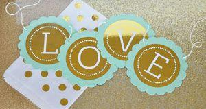 Personalized Metallic Foil Scallop Banner - Wedding image