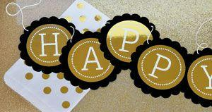 Personalized Metallic Foil Scallop Banner - Birthday image