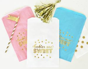"""""""Babies are Sweet"""" Gold Foil Candy Buffet Bags (set of 1 image"""