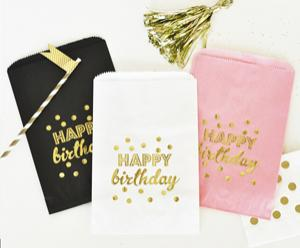 """Happy Birthday"" Gold Foil Candy Buffet Bags (set of 12) image"