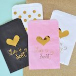 'Love is Sweet' Gold Foil Candy Buffet Bags (Set of 12)