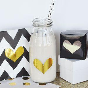 DIY Gold & Silver Foil Heart Stickers (Set of 24) image