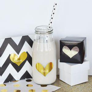 Personalized Gold & Silver Foil Heart Stickers image