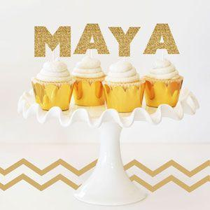 Personalized Gold Glitter Stickers (Set of 6) image
