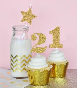 Gold Glitter Numbers Stickers (Set of 24) image