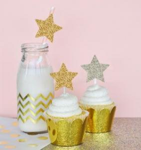 Gold Glitter Star Stickers (Set of 24) image