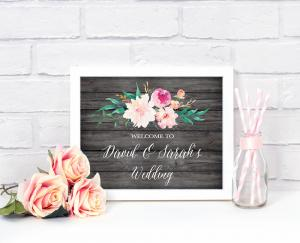 Floral Garden Custom Text Wedding Sign image