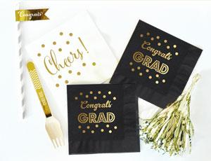Metallic Gold & Black Graduation Napkins (set of 25) image