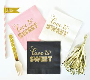 Metallic Gold LOVE IS SWEET Napkins (set of 25) image