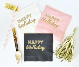 Metallic Gold BIRTHDAY Napkins (set of 25) image