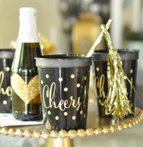 Gold CHEERS Party Cups (set of 25) image