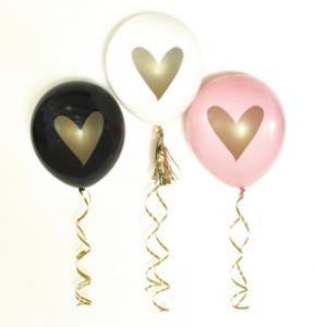 Gold HEART Party Balloons (set of 3) image