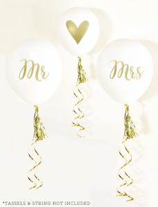 White & Gold MR & MRS Party Balloons (set of 3) image