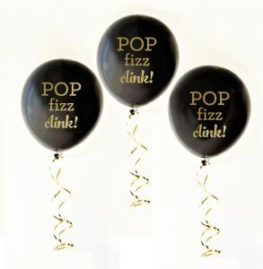 Black & Gold POP FIZZ CLINK Party Balloons (set of 3) image
