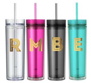 Metallic Gold Monogram Tumblers image
