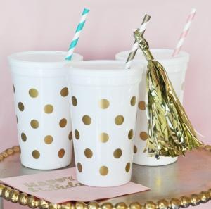 White & Gold Polka Dot Party Cups w/Lids (set of 25) image