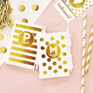 White & Gold Monogram Notebooks (set of 8) image