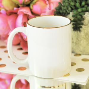 Blank Gold Rim Coffee Mugs image