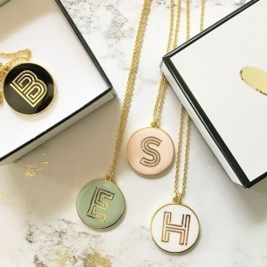 Gold Round Monogram Necklace image
