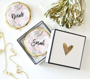 Personalized Pink Marble Compacts image