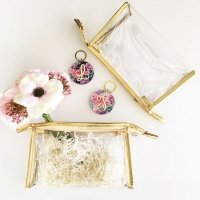 Gold Trim Clear Cosmetic Bags