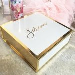 Personalized White and Gold Gift Box