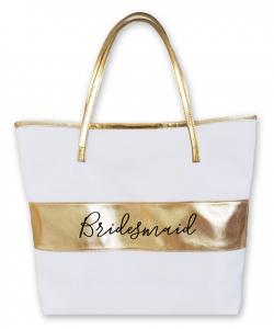 Bridal Party Gold Striped Tote image