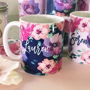 Personalized Floral Coffee Mugs image