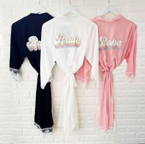 Retro Wedding Cotton Lace Robes image