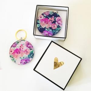 Blank Round Floral Keychains image