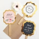 Personalized Floral Garden Gold Paddle Fans