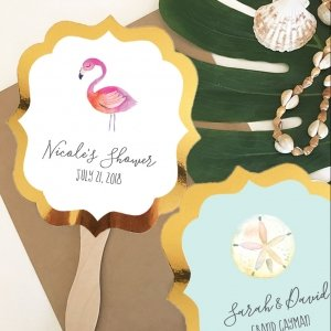 Personalized Tropical Beach Gold Paddle Fans image