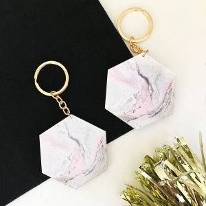 Blank Geometric Pink Marble Keychains image