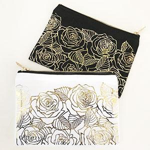 Rose Garden Cosmetic Bag - Gold Foil image