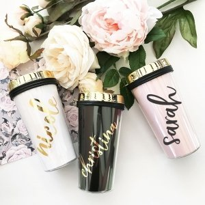 Personalized Gold Lid Travel Tumblers image
