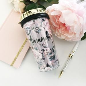 Rose Garden Coffee Travel Tumblers - Gold Lid image